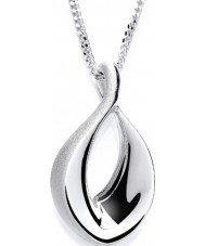 Purity 925 PUR3023P Ladies Open Brushed Pearl Sterling Silver Necklace