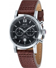 AVI-8 AV-4015-02 Mens Hawker Hurricane Brown Leather Strap Chronograph Watch