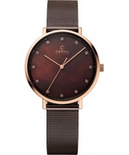 Obaku V186LXVNMN Ladies Brown Steel Mesh Bracelet Watch