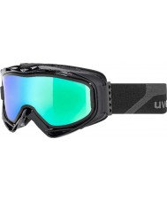 Uvex 5502132126 G.GL 300 Take Off Matte Black - Green Mirror Ski Goggles with Smoke Blue Replacement Lens