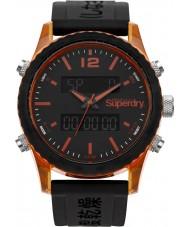 Superdry SYG206B Mens Tokyo Anadigi Black Silicone Strap Watch