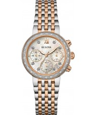 Bulova 98W215 Ladies Diamond Two Tone Steel Bracelet Chronograph Watch