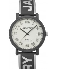 Superdry SYL196EE Campus Cool Grey Silicone Strap Watch with Silver Print