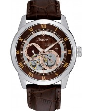 Bulova 96A120 Mens Automatic Brown Leather Strap Watch