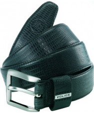 Police POMAA8-0402CL P Keeper Black Leather Silver Buckle Belt - Size L