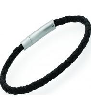 Unique A41BL-21CM Mens Black Leather Bracelet