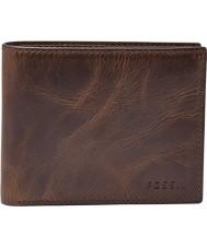 Fossil ML3681201 Mens Derrick Dark Brown Bifold RFID Wallet with Flip ID