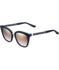 Jimmy Choo Ladies Fabry-S KCA NH Blue Glittery Gold Mirror Sunglasses