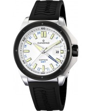 Candino C4473-1 Mens Dual Time Black Rubber Strap Watch