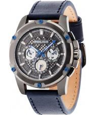 Police 14689JSU-13 Mens Grid Blue Leather Strap Watch
