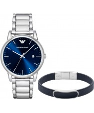 Emporio Armani AR8033 Mens Dress Silver Watch and Blue Bracelet Gift Set