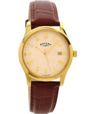 Rotary GS00794-32 Mens Gold Plated Brown Watch