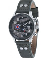 AVI-8 AV-4011-0A Mens Hawker Hurricane Grey Leather Strap Chronograph Watch