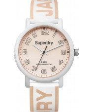 Superdry SYL196WRG Campus White Silicone Strap Watch with Rose Gold Print