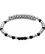 Emozioni DC151 Ladies Black and Silver Plated Wrap Bangle