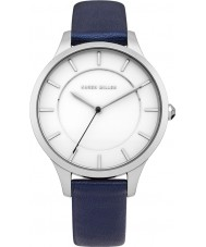 Karen Millen KM133U Ladies Navy Blue Perlized Leather Strap Watch