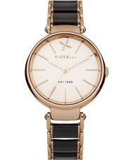 Fiorelli FO011BRGM Ladies Rose Gold Watch with Black Leather Wrapped Centre Links
