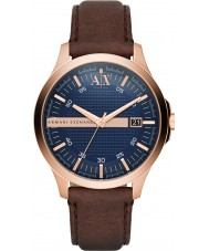 Armani Exchange AX2172 Mens Dress Dark Brown Leather Strap Watch
