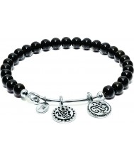 Chrysalis CRBH0001BL Black Onyx Lucky Ganesh Rhodium Plated Expandable Charm Bangle