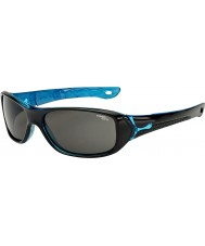 Cebe S-Picy (Age 7-10) Shiny Black Crystal Blue Sunglasses