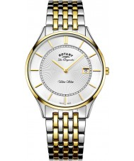 Rotary GB90801-02 Mens Ultra Slim Two Tone Steel Bracelet Watch