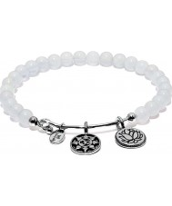 Chrysalis White Chalcedony Mantra Rhodium Plated Expandable Charm Bangle