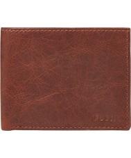 Fossil ML3448609 Mens Ingram Wine L-Zip Bifold Wallet