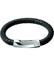 Calvin Klein KJ2BBB09010L Mens Bewilder Black Leather Bracelet