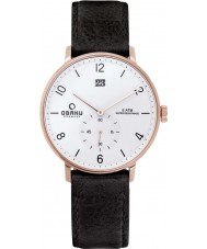 Obaku V190GDVWRB Mens Black Calf Leather Strap Watch