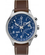 Timex Intelligent Quartz TW2P78800 Mens Fly-Back Chronograph Brown Leather Strap Watch