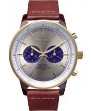Triwa NEAC109-CL010313 Blue Face Nevil Dark Red Leather Strap Watch