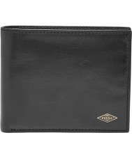 Fossil ML3736001 Mens Ryan Black RFID Wallet with Large Coin Pocket