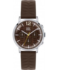 Orla Kiely OK2001 Ladies Frankie Chronograph Dark Brown Leather Strap Watch