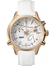 Timex Intelligent Quartz TW2P87800 World Time White Leather Strap Watch