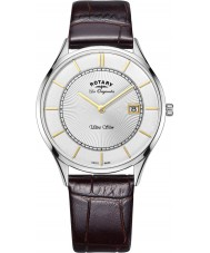 Rotary GS90800-02 Mens Ultra Slim Brown Leather Strap Watch