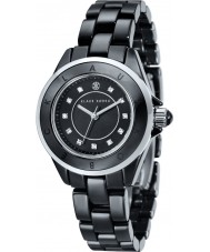 Klaus Kobec KK-10004-05 Ladies Luna Steel and Black Ceramic Watch