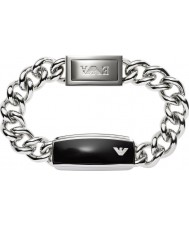 Emporio Armani EGS1729040 Mens Signature Sleek Black Matte ID Steel Bracelet