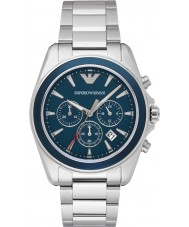 Emporio Armani AR6091 Mens Blue Silver Chronograph Sports Watch