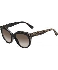 Jimmy Choo Ladies Nicky-S PUE J6 Animal Black Sunglasses