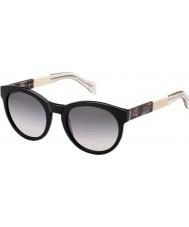Tommy Hilfiger Ladies TH 1291-S G6P EU Black Ivory Crystal Sunglasses