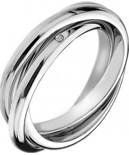 Hot Diamonds DR143-N Ladies Trio Silver Tone Ring - Size N