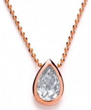 Purity 925 PUR3608-2 Ladies Pear Rose Gold Plated Necklace With CZ