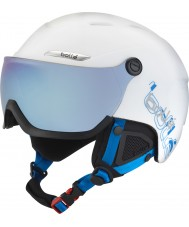Bolle 31168 B-Yond Visor White and Blue Ski Helmet with Grey Blue Visor - 58-61cm