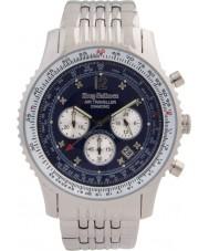 Krug Baümen 600304DS Mens Air Traveller Diamond Silver Chronograph Watch