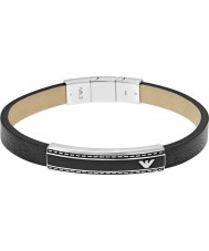 Emporio Armani EGS1923040 Mens Signature Black Leather ID Bracelet