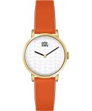 Orla Kiely OK2114 Ladies Luna Orange Leather Strap Watch