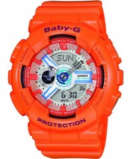Casio BA-110SN-4AER Ladies Baby-G World Time Orange Chronograph Watch
