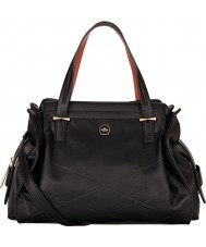 Nica NH6114-BLACK Ladies Ava Black Emboss Zip Grab Bag