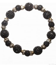 Nevine Crystals CC101 Black Crystal Beads Stretch Bracelet