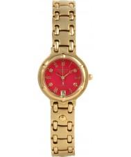 Krug Baümen 5119DL Charleston 4 Diamond Red Dial Gold Strap